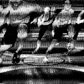 A group of people in an exercise video, it is blurry with distorted lines. It's black and white